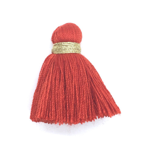 40mm Cotton Tassel with Gold - Red