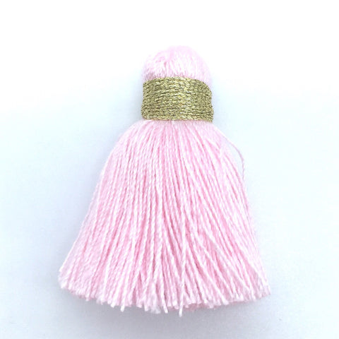 40mm Cotton Tassel with Gold - Light Pink