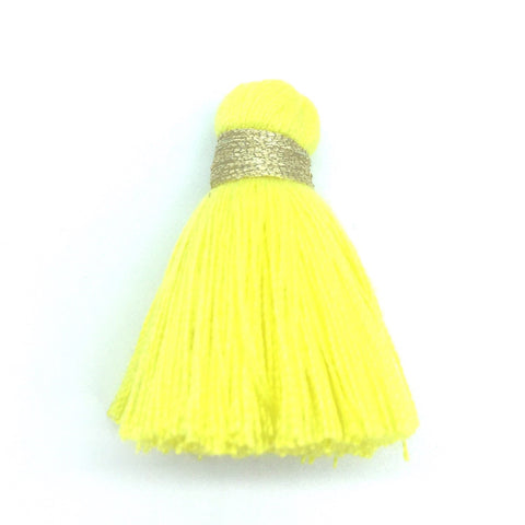 40mm Cotton Tassel with Gold - Yellow