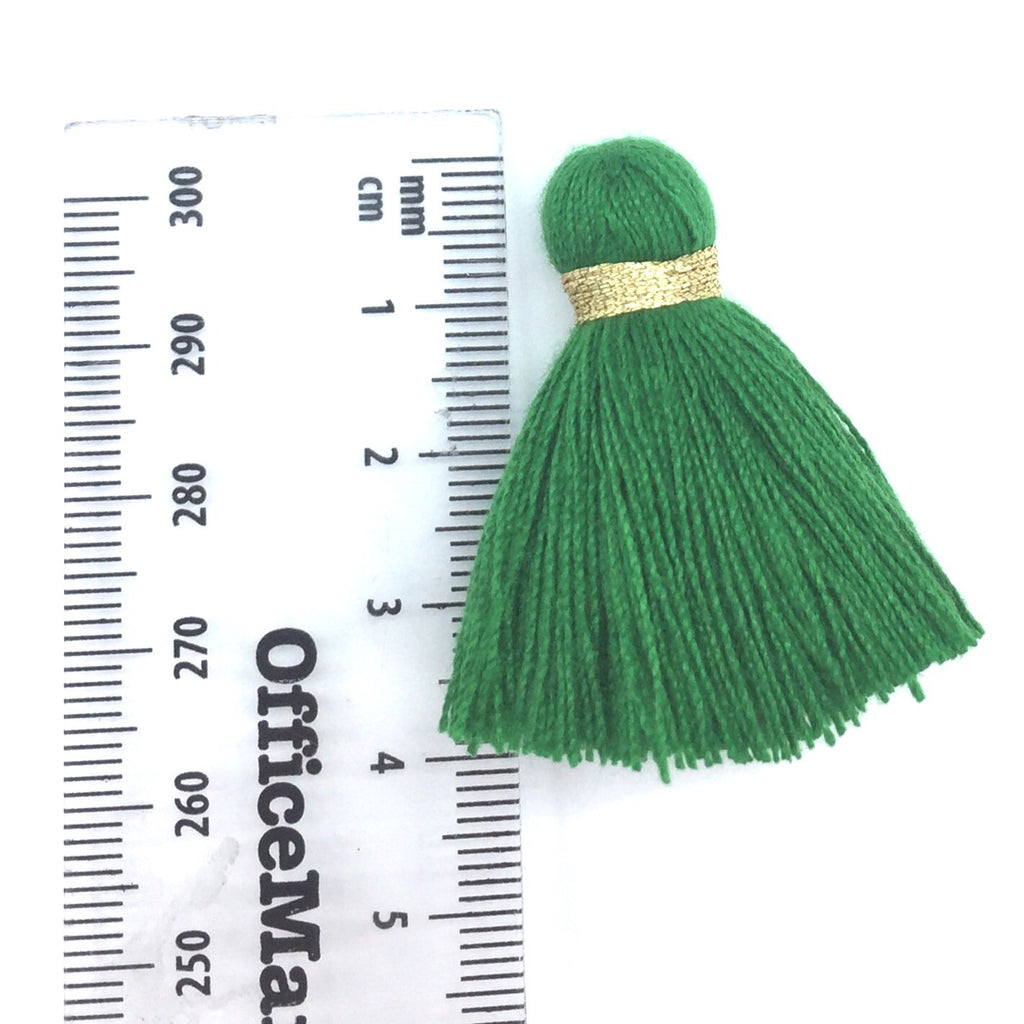 40mm Cotton Tassel with Gold - Green DISCONTINUING - 2 pieces