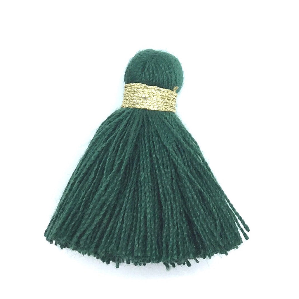 40mm Cotton Tassel with Gold - Forest Green DISCONTINUING - 2 pieces