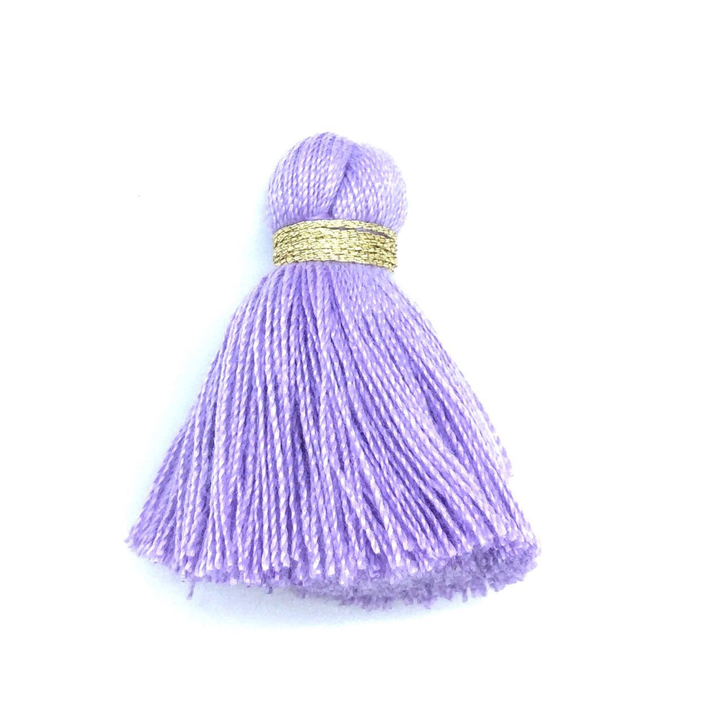 40mm Cotton Tassel with Gold - Purple DISCONTINUING - 2 pieces