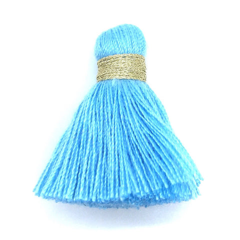 40mm Cotton Tassel with Gold - Light Blue