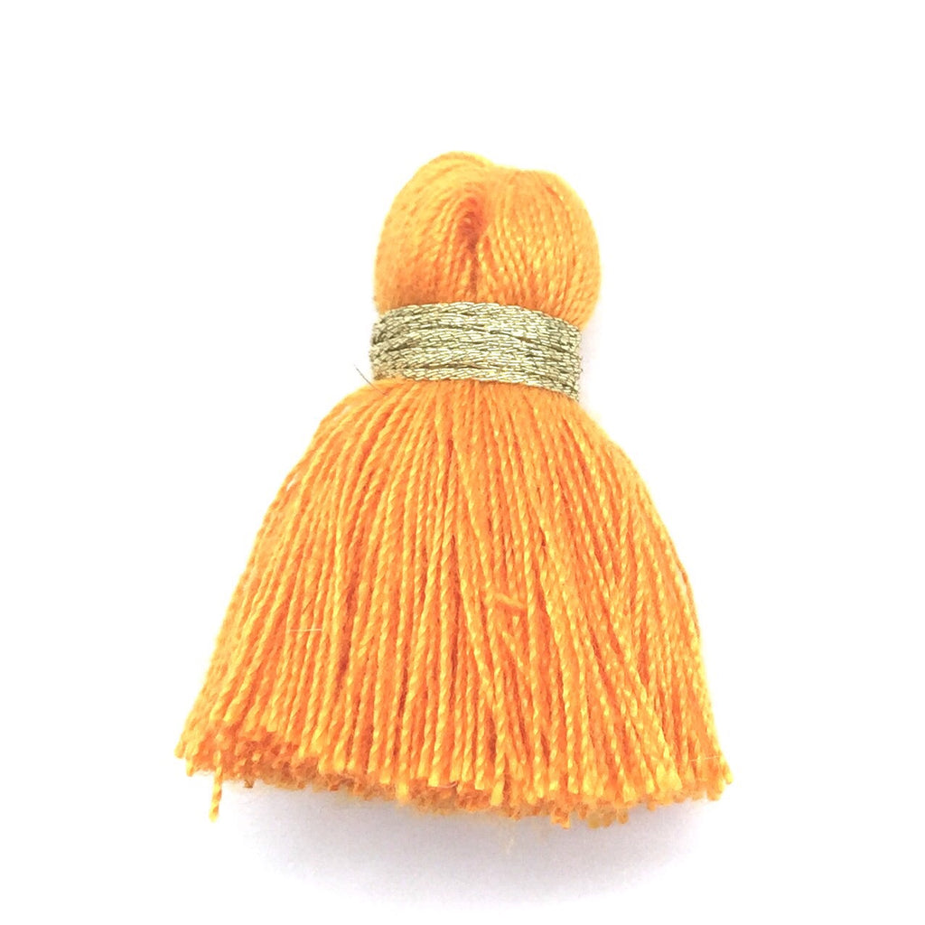 40mm Cotton Tassel with Gold - Mango DISCONTINUING - 2 pieces