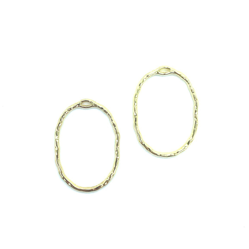 Gold Hammered Metal Oval - 2 pieces