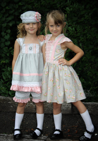 Tea Party Dress, Beatrice Dress and Bloomers, Snow Cap Pattern and Alice Dress and Romper Handmaidens Cottage