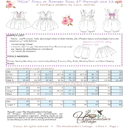 """Alice""  Dress and Romper PDF Pattern - Handmaiden's Cottage"