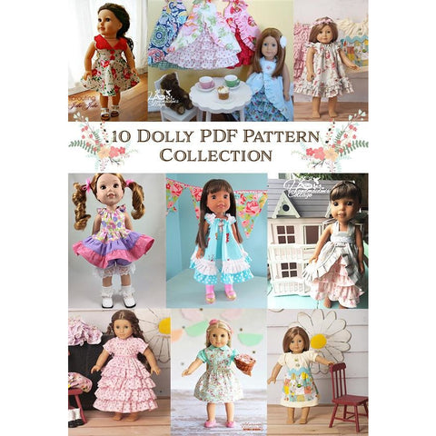 Dolly Sewing Pattern Collection ~ 10  PDF Patterns - Handmaiden's Cottage