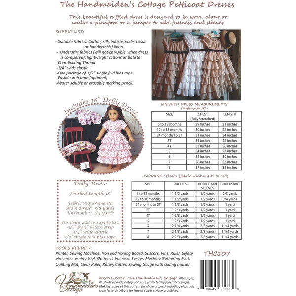 NEW Dolly and Me Petticoat Dresses PAPER PATTERN