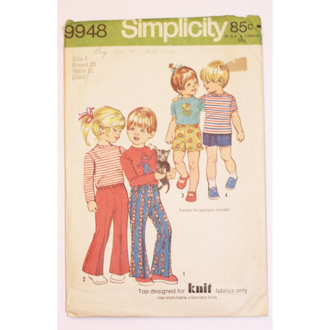Size 4 - Simplicity 9948 Child's Pants and Top