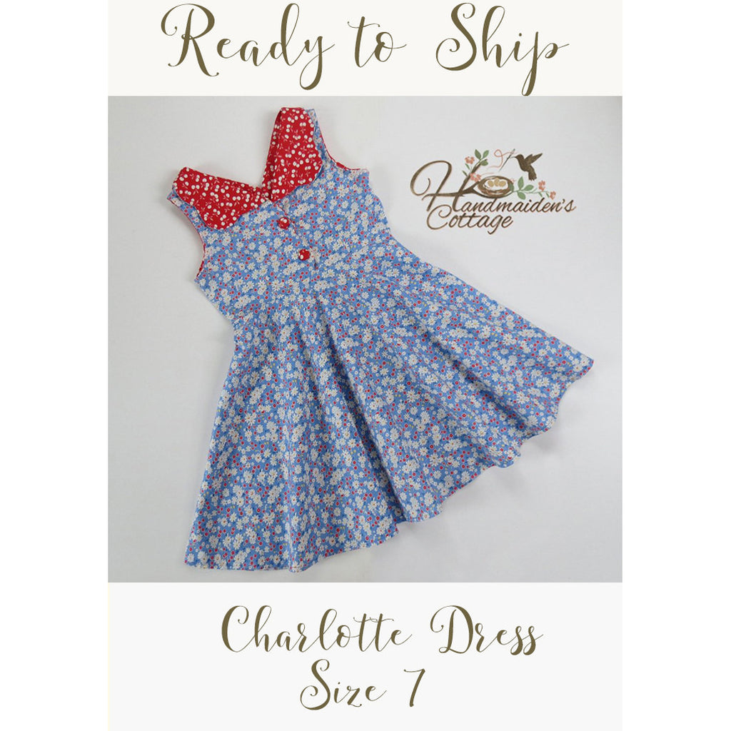 Retro Girl, Ready to Ship, Girls size 7 - Handmaiden's Cottage