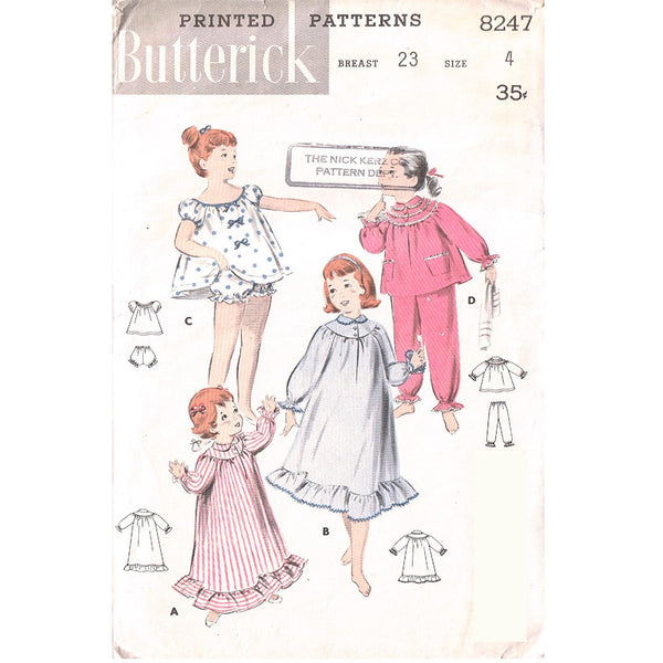 Size 4 - Butterick 8247 Girls Nightgown and Pajamas - Handmaiden's Cottage