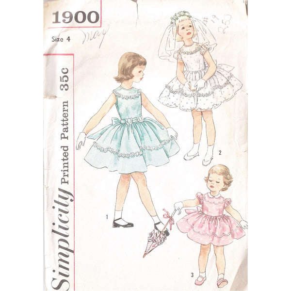 Size 4 - Simplicity 1900 Girls Party Dress - Handmaiden's Cottage