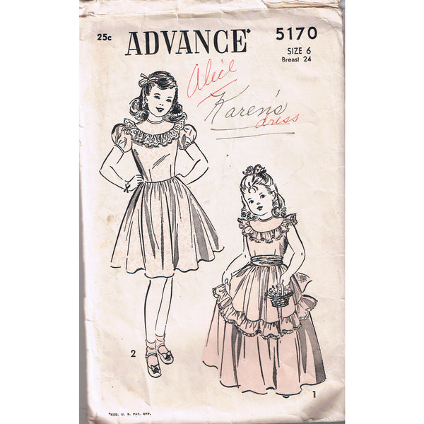 Advance 5170 Girls Long or Short Dress with Ruffles - Handmaiden's Cottage