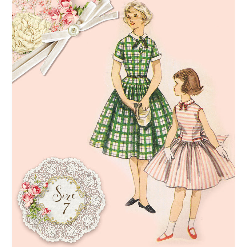 Simplicity 1254 Girls One Piece Dress and Detachable Collar and Cuffs - Handmaiden's Cottage