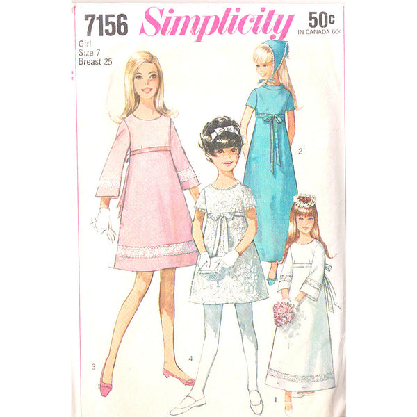 Size 7 - Simplicity 7156 Girls Empire Dress - Handmaiden's Cottage