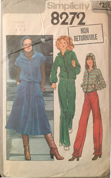 Size 6 - 8 (Misses) - 1970's Simplicity 8272 Hoodie Jacket, Pants, Skirt Vintage Sewing Pattern* - Handmaiden's Cottage