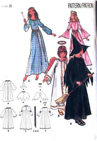 Size 8: 1970's Butterick 4932 *UNCUT* Girls/Teen Halloween Costume: Angel, Witch, Fairy Godmother, Princess - Handmaiden's Cottage