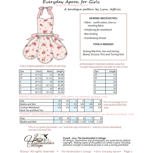 "Child's  Everyday Apron PDF with 18"" Doll Pattern Set - Handmaiden's Cottage"