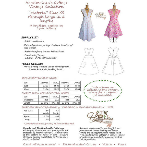 Pattern Set Special 3 Apron PDF Sewing Patterns - Handmaiden's Cottage