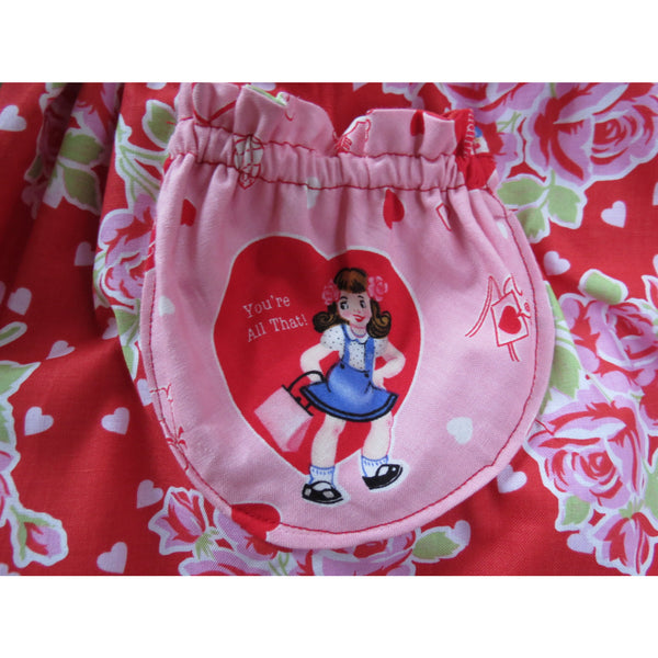 I Heart U Valentine Pinafore Dress - Handmaiden's Cottage