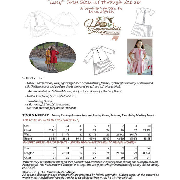 Scalloped Capelet and Lucy Dress PDF Sewing Pattern Bundle - Handmaiden's Cottage