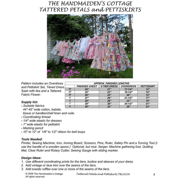 Tattered Petals and Pettiskirts PDF Pattern - Handmaiden's Cottage