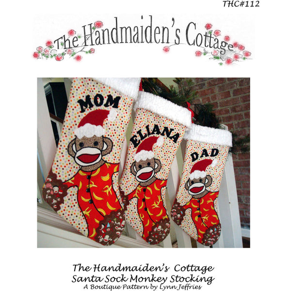Santa Sock Monkey Stocking PDF Pattern - Handmaiden's Cottage