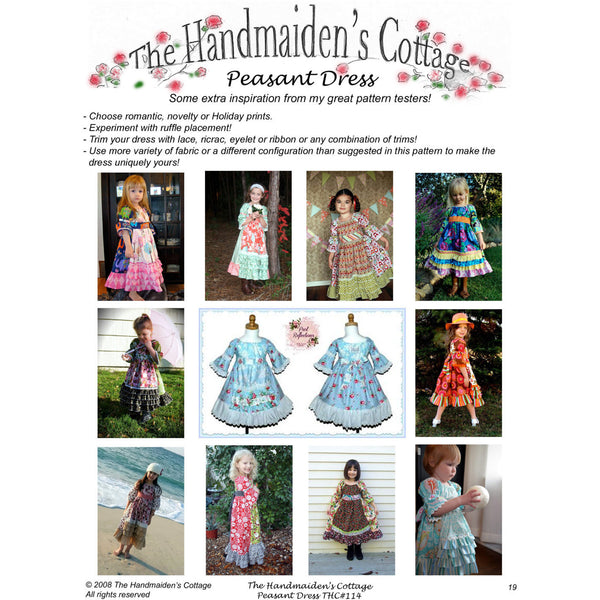 Peasant Dress PDF Sewing Pattern - Handmaiden's Cottage