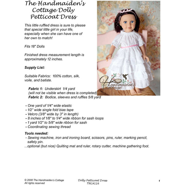 Dolly Petticoat Dress PDF Pattern - Handmaiden's Cottage