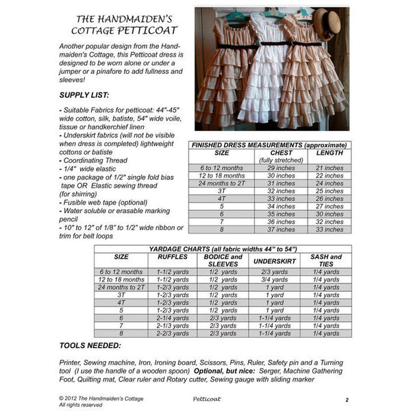 Petticoat and Pinafore PDF Pattern Set - Handmaiden's Cottage