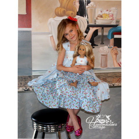 Girls Tea Party  Dress & 18 inch Doll Tea Party  Dress PDF Pattern Set - Handmaiden's Cottage