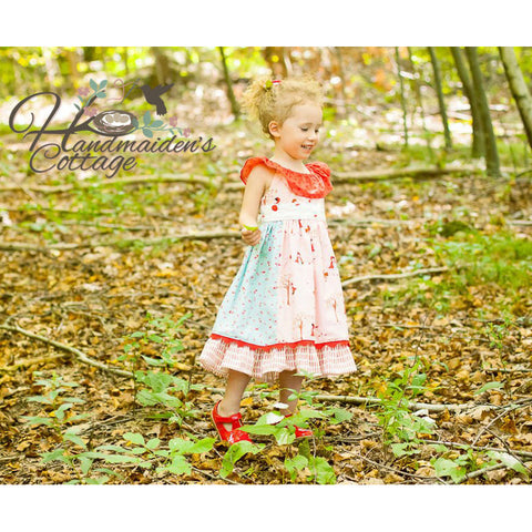 Girls Paneled Patchwork Dress PDF Pattern - Handmaiden's Cottage