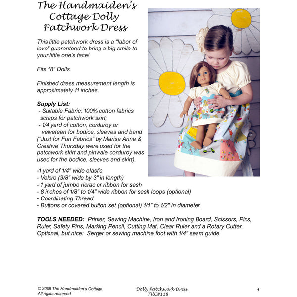 Dolly Patchwork Dress PDF Sewing Pattern - Handmaiden's Cottage