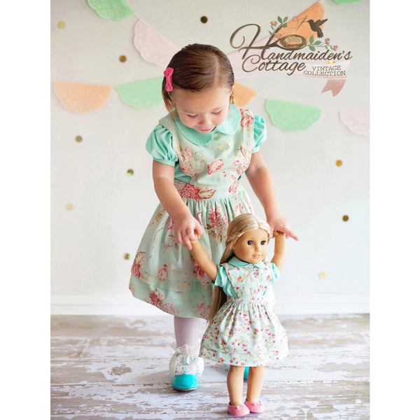 Girls Elizabeth Pinafore Dress and Eden Blouse PDF Pattern Set - Handmaiden's Cottage