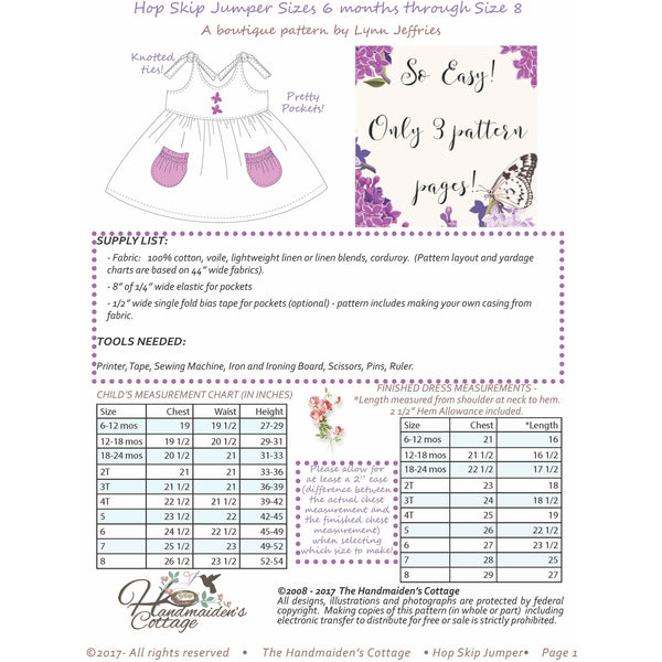 Hop Skip Jumper for Girls  6 months  to 8 years  + 18 inch  Doll PDF Sewing Patterns - Handmaiden's Cottage