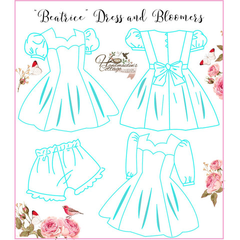"NEW ""Beatrice"" Dress and Bloomers PDF Pattern Sizes 2T through size 12"