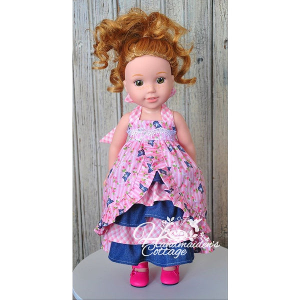"Dolly Tea Party Dress for 14 1/2"" Dolls PDF Pattern - Handmaiden's Cottage"