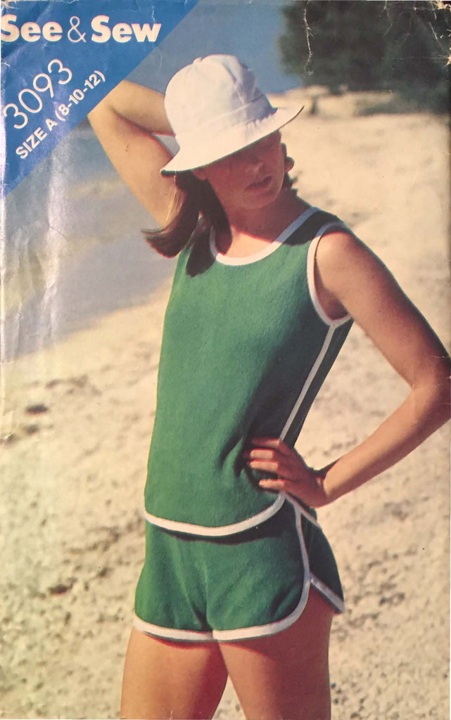 1970s Butterick 3093 - A - Misses Top and Shorts (Sizes 8-10-12)  See & Sew Vintage Sewing Pattern* - Handmaiden's Cottage