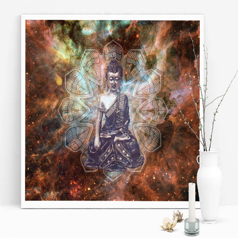 Canvas Art Buddha in Night Sky with Stars