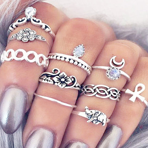 10pc Bohemian Ring Set
