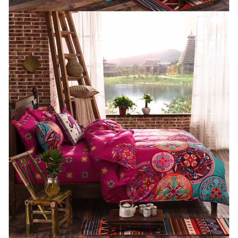 Bohemian Style 4 piece Floral Bedding Duvet Cover Set