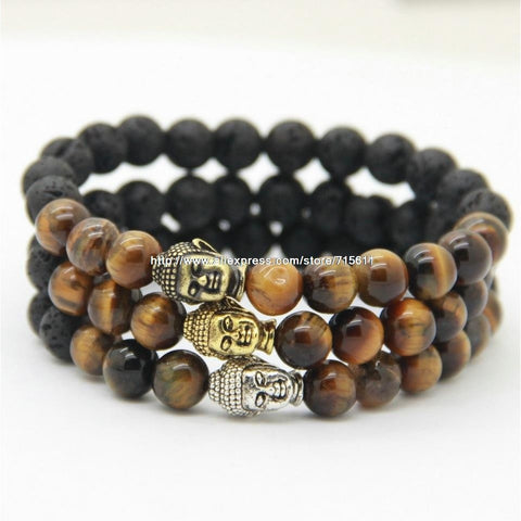 Beautiful Beaded Buddha Tiger Eye Bracelet in three finishes.