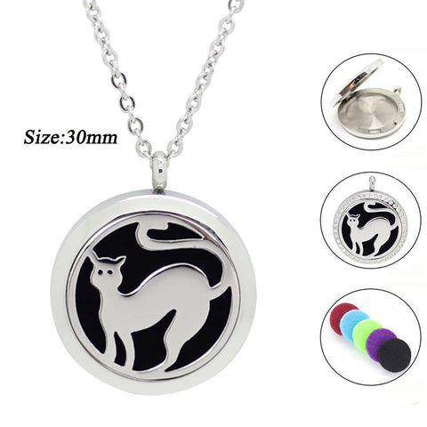 Beautiful Essential Oil Diffuser Cat Locket and Chain