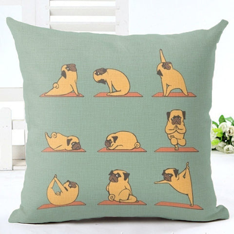 Yoga Pug Dog Cushion Cover