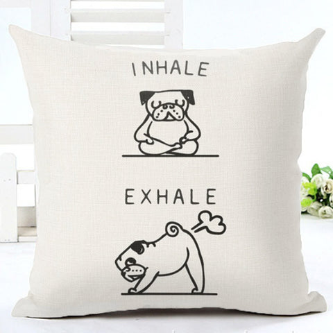 Fun Inhale Exhale Yoga Dog Cushion Cover