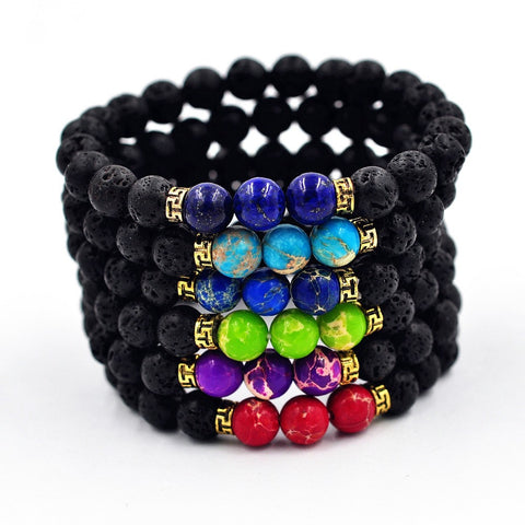 Natural Lava Stone Yoga Bead Bracelet in different colours