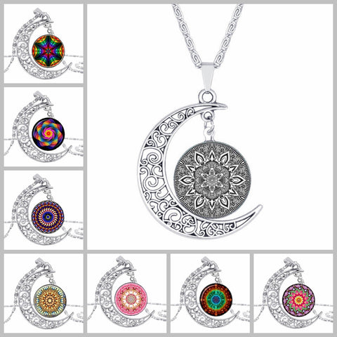 HOT! Handmade silver flower moon enamel mandala necklace c