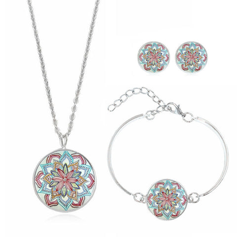 Ohm Mandala Flower Necklace, Earrings and Bracelet Set