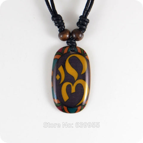 Ohm Hindu Buddhist Yoga Resin Pendant Necklace